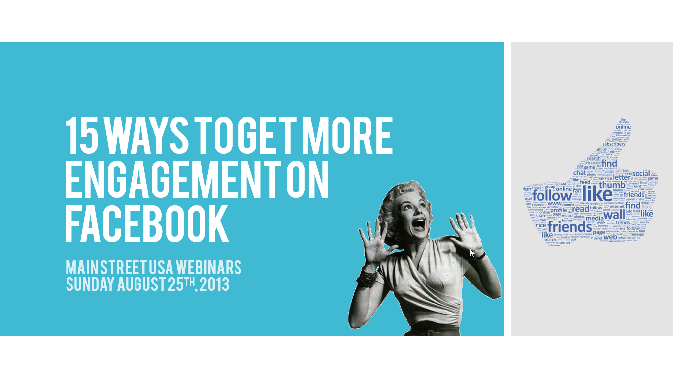 15 Ways to Get More Facebook Fan Page Engagement - Free Webinar