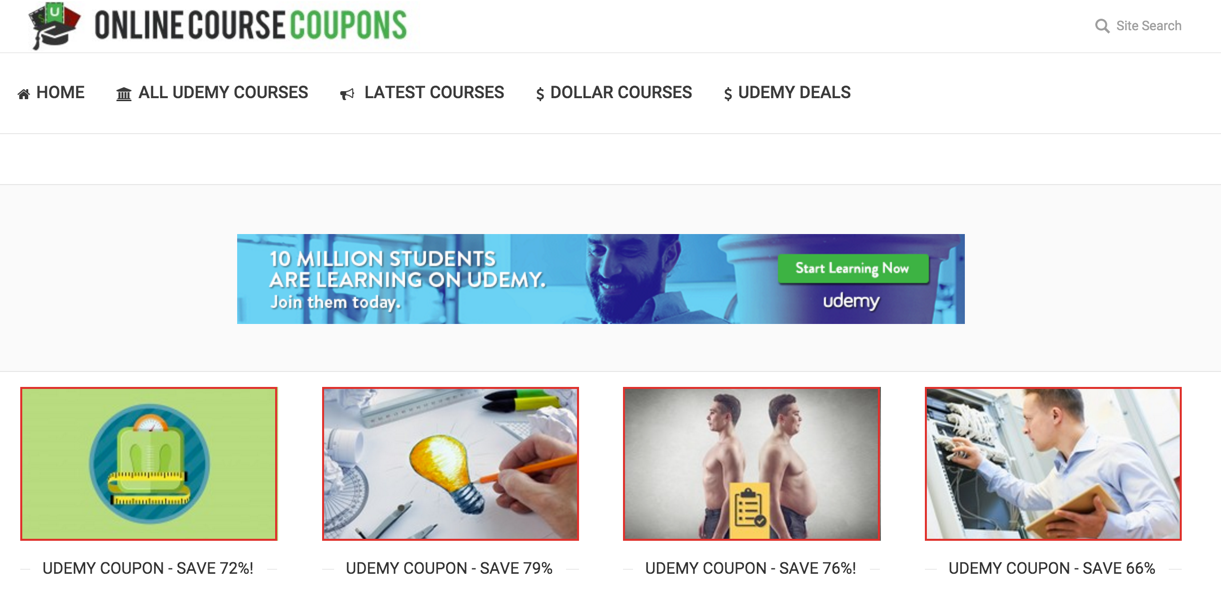 Online Course Coupons Homepage