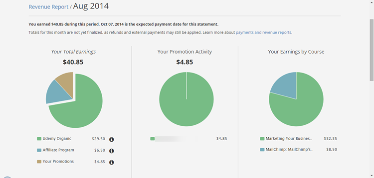 Udemy Earnings August 2014