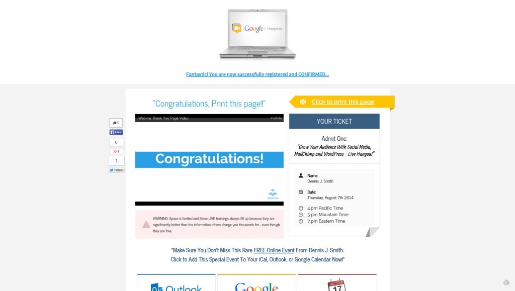 LeadPages - Confirm Hangout Registration