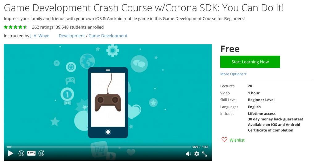 Game Development Crash Course w/Corona SDK: You Can Do It!